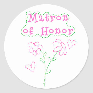 Pink Flowers Matron of Honor Round Sticker