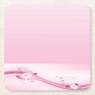 Pink Flowers n Waves Square Paper Coaster