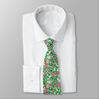 Pink flowers on a pale green background tie