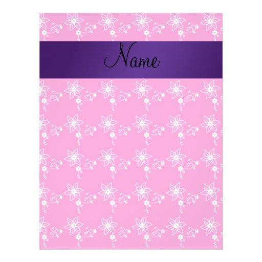 Pink flowers personalized name flyer