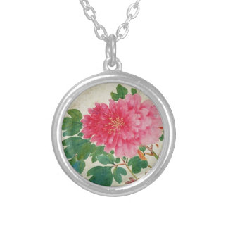 Pink Flowers Silver Plated Necklace