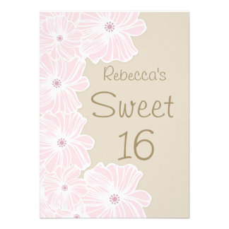 Pink flowers Sweet 16 Party Invite