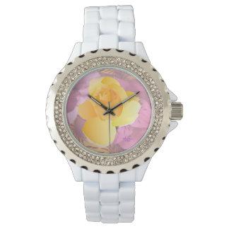 Pink Flowers Yellow Rose White Rhinestone Watch