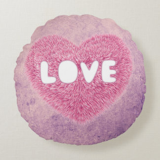 Pink fluffy Love Heart Round Cushion