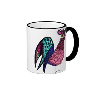 Pink Folk Art Rooster Mug