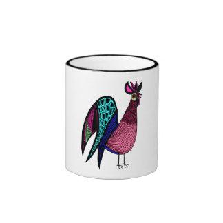 Pink Folk Art Rooster Coffee Mugs