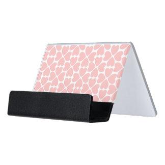 Pink Four Leaf Clover Hearts Desk Business Card Holder