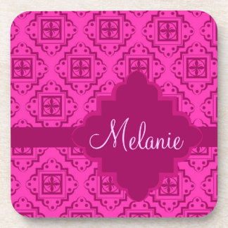 Pink Fuchsia & Magenta Arabesque Moroccan Graphic Coaster