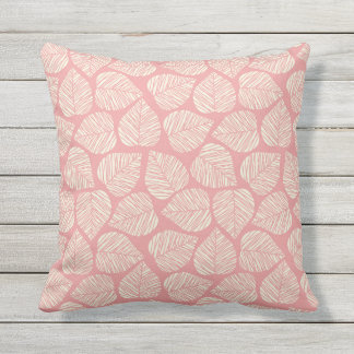 Pink Garden Leaf Pattern Outdoor Pillow