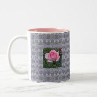 Pink Garden Rose 4 Two-Tone Coffee Mug