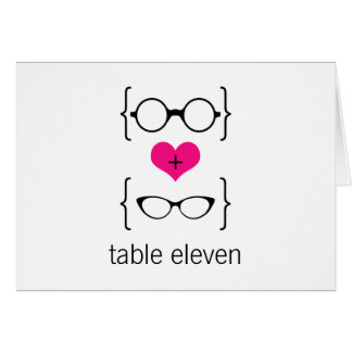 Pink Geeky Glasses Table Number Card