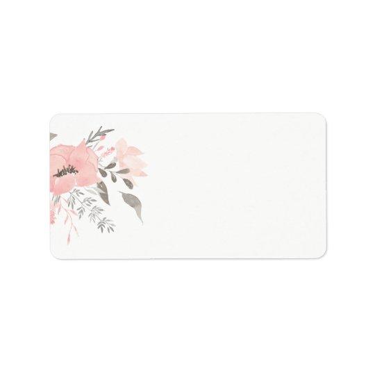 Pink Geranium Floral | Blank Address Label