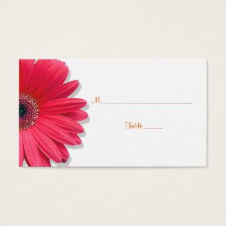 Pink Gerber Daisy Orange Ribbon Wedding Place Card