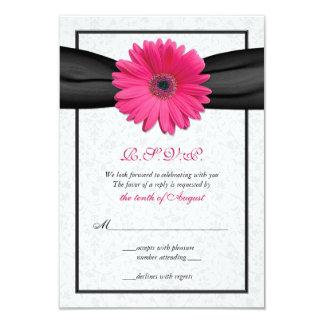 Pink Gerbera Black Ribbon Wedding Reply Card