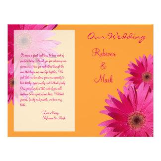 Pink Gerbera Daisy Wedding Program Custom Flyer