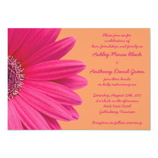 Pink Gerbera Daisy with Orange Wedding Invitation