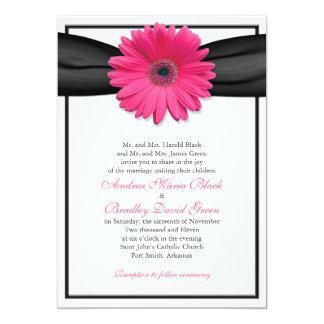 Pink Gerbera with Black Ribbon Invitation