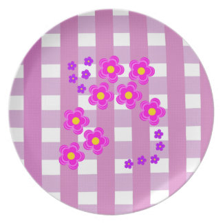 Pink Gingham Fabrick look , and flowers plates