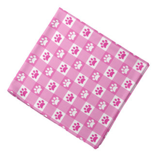 Pink Gingham with Paws Bandannas