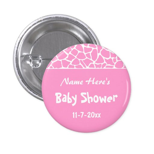 Pink Giraffe Baby Shower Pinback Button