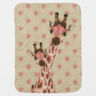 Pink Giraffes Floral  Baby Blanket