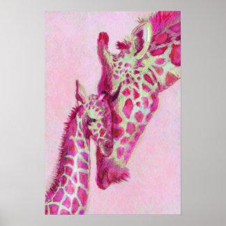 pink giraffes poster
