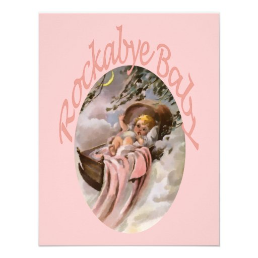Pink Girl Baby Lullaby Watercolor Personalized Invite