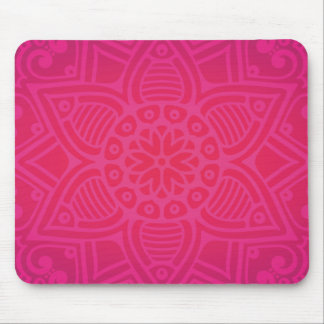 Pink Girly Boho Flower Design Mouse Pad