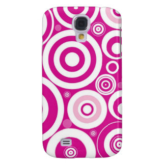 Pink Girly Retro Funky Circles Pattern Galaxy S4 Case