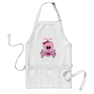 Pink Girly Skull with Bow Halloween or Pirate Aprons