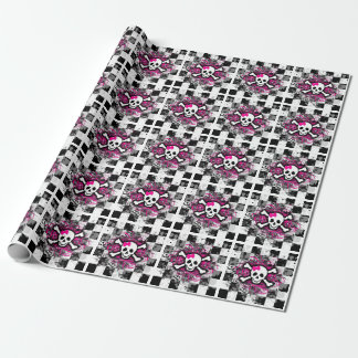Pink Girly Skulls Wrapping Paper