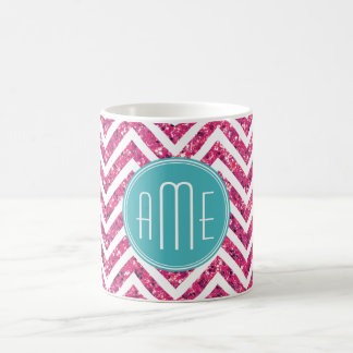 Pink Glitter and Mint Custom Monogram Coffee Mug