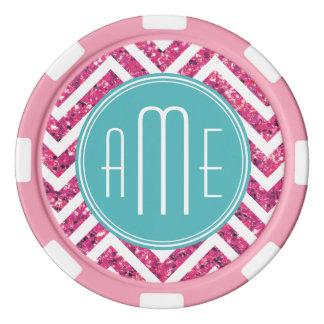 Pink Glitter and Mint Custom Monogram Poker Chips