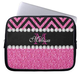 Pink Glitter Black Chevron Monogram Laptop Sleeve