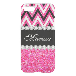 Pink Glitter Black White Chevron Stripes Clearly™ iPhone 8/7 Case