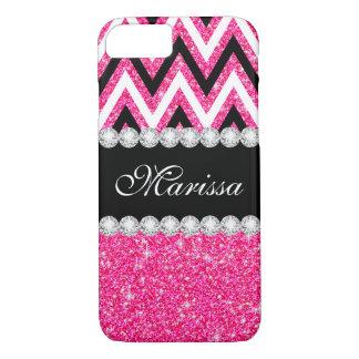 Pink Glitter Black White Stylish Chevron Pattern iPhone 8/7 Case