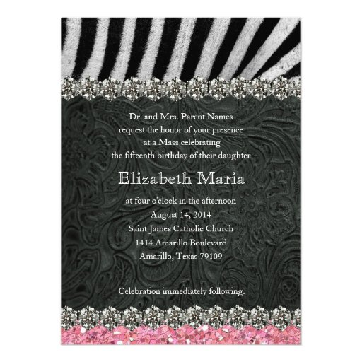 Pink Glitter Black Zebra Quinceanera Invitation