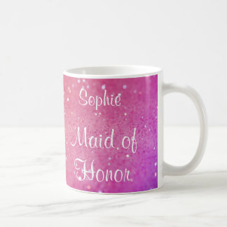 Pink Glitter Bokeh Maid of Honor (Any Name) Mug