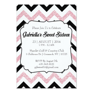 Pink Glitter Chevron Sweet 16 Invitation