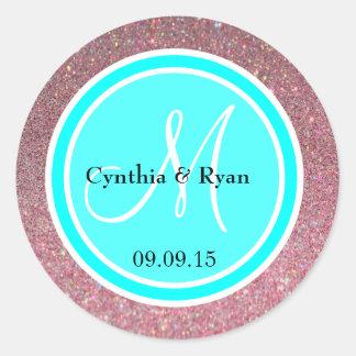 Pink Glitter & Cyan Blue Wedding Monogram Label Round Sticker