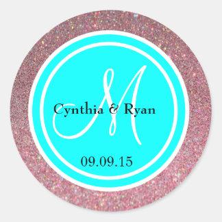 Pink Glitter & Cyan Blue Wedding Monogram Round Sticker