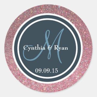 Pink Glitter & Dark Blue Wedding Monogram Seal Round Sticker