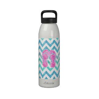Pink Glitter Flip Flops Teal Aqua Chevron Pattern Drinking Bottle
