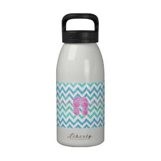 Pink Glitter Flip Flops Teal Aqua Chevron Pattern Drinking Bottles