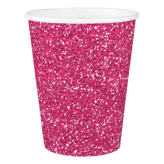 Pink Glitter Image Party Paper Cups