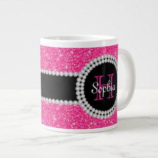 Pink Glitter Monogrammed Jumbo Coffee Mug Jumbo Mug