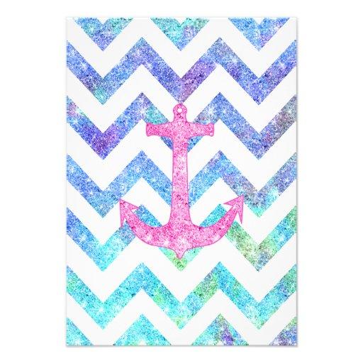 Pink Glitter Nautical Anchor Watercolor Chevron Custom Invites