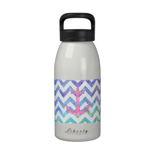 Pink Glitter Nautical Anchor Watercolor Chevron Drinking Bottle