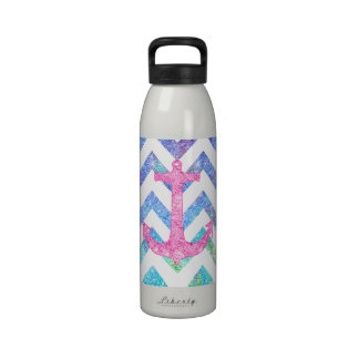 Pink Glitter Nautical Anchor Watercolor Chevron Drinking Bottles