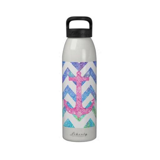 Pink Glitter Nautical Anchor Watercolor Chevron Drinking Bottles